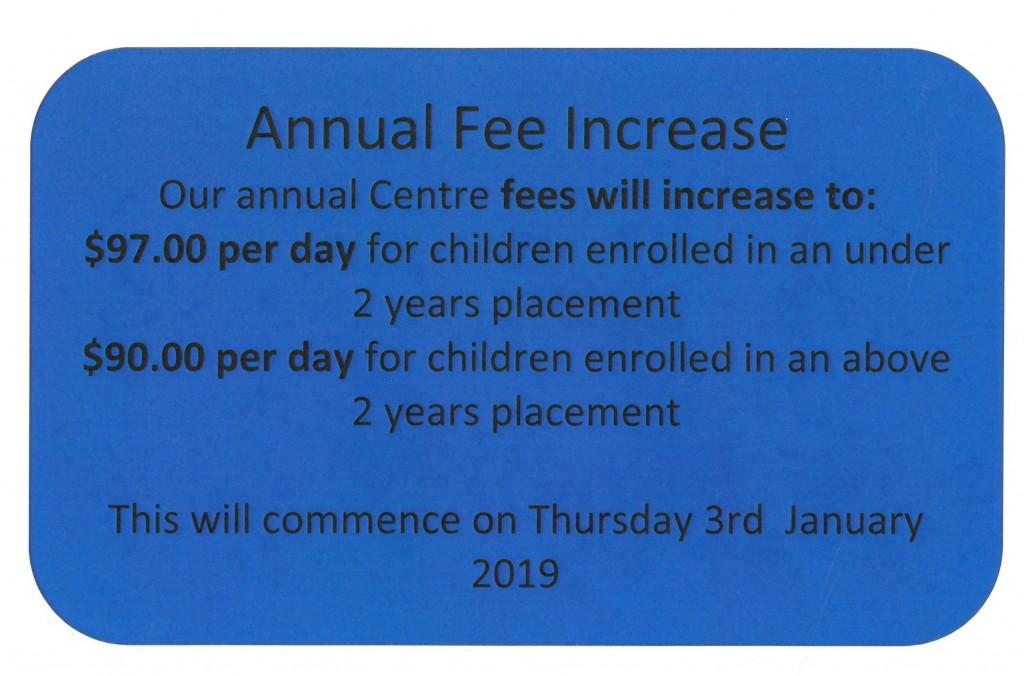 Fee Increase 2019